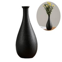1 قطعة البساطة سوداء السيراميك إناء محاكاة الزهور المجففة الحاويات المنزلية الحرفية زخرف المزهريات