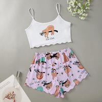 Sloth Print Pajama Set Women Sleepwear Summer Sexy Cotton Pyjamas Plus Size 2 Piece Home Suit Loungewear Lingerie