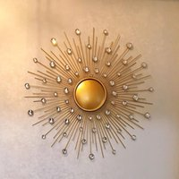 Mirrors Stereo Wall Decoration Style Iron 2021 European Hanging Creative Home Round Cn(origin) QY