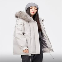 High-quality women's down jacket and parka white duck slim coat South Korean winter warm fur collar elegant women