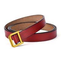 Belts ECHAIN Luxury Vintage Designer D-Shaped Buckle High Quality Women Genuine Real Leather Dress Strap D Belt For Jeans