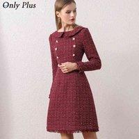 2021 Yeni Tüvit Elbise Sıcak Kış kadın Yün Ekose OL Şarap Vintage Elbiseler A-Line Parti Akşam Zarif Bayanlar Vestidos 210323