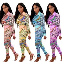 Sexy Women's Shirt Pants Two Piece Set Long Sleeve Printed Spring Autumn Tops Trousers Fashion Casual Ladies Suits