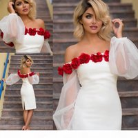 Sexy White Short Cocktail Party Dresses Off Shoulder Puffy Long Sleeves 3D Rose Flowers Plus Size Knee Length Cheap Formal Party Gowns