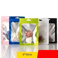 100pcs 4 colores mate pequeños bolsas de embalaje de regalo transparente + colorido medicina con cierre de cremallera Bolsas de embalaje con perrito y soporte de percha