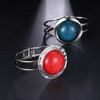 Bangle AMC Trendy Vintage Red And Blue Couple Advanced Big Opal Stone Hip Hop Cool Zircon Lucky Bracelet Lovers' Jewelry Gifts