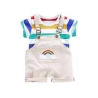 2pcs set Summer Baby Boys Clothes Set Cartoon Toddler Baby Infant Girls Outfits T-shirt+Bib Pants Kids Clothing Sets Tracksuit 210427