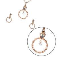 Collana orecchini 1 Set di orecchini rotondi orecchio drop dangle rospino gioielli rosa oro rosa