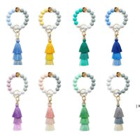 Silica gel bead key ring Party Favor Female grade silicone bracelet keyring tassel elastic rope beaded hand string keychain OWB6995