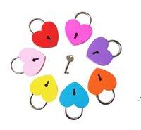 Creative liga coração forma chave cadeado mini arcaize cadeado concêndrico vintage velho antique porta fechaduras owb9614