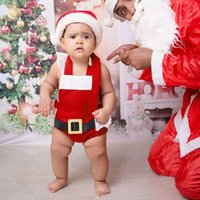 Rompers 2022 Christmas Costume Born Baby Girls Red Romper Belt Decor Party Lace Ruffles Backless Bodysuit Boys Xmas Clothing