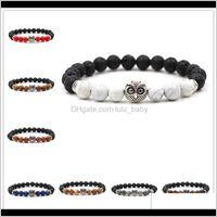 8Mm Black Lava Stone Tigers Eye Beads Owl Charms Essential Oil Diffuser Bracelet Balance Yoga Pulseira Feminina Buddha Jewelry Aabtx C T7Cra