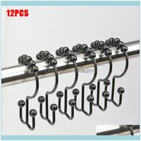 Rails Storage Housekeeping Organization Home & Garden12Pcs Set Bathroom Curtain And Liner Decorative Hooks Friction Metal Rings For Shower R