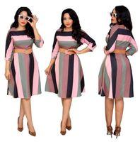 Moda Kadınlar Için Afrika Elbiseler Giysi Afrika Elbise Gökkuşağı Şerit Baskı Dashiki Giyim Artı Boyutu Dre Casual