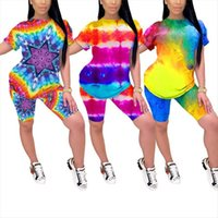 Tie Dyeing Print Outfits Womens Tracksuits O Neck Short Sleeve Two Piece Set Slim Tracksuit T Shirt Top Training Suits