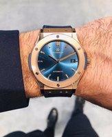 Мужские наручные часы Автоматическая механическая LuxuryWatch Classic Fusion Design серый синий черный циферблат 42 мм ленты Sapphire Calfskin ремень движения мужчин наручные часы