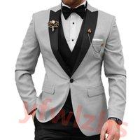 Custom-made One Button Groomsmen Peak Lapel Groom Tuxedos Men Suits Wedding Prom Dinner Man Blazer(Jacket+Pants+Tie+Vest) W920