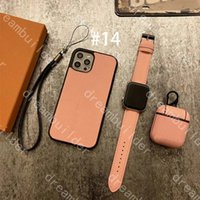 3-Piece Set Fashion Phone Fodral för iPhone 12 Pro Max Mini 11 11Pro X XS XR XSMAX PU Läder AirPods Cover Designer Watchband Suit