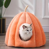 Cat Beds & Furniture Winter Semi-enclosed Nest Warm House Puppy Kennel Soft Cave Kitten Bed Washable Indoor Tent Pet Accessories