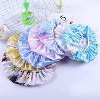 Seidige Haarpflege Mütze Hut Satin Silk Nightcap Blumen Blumen Print Womens Head Wrap Headband Bad Duschkappen Elastische Schlafkappen G38Gmky