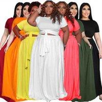 Artı Boyutu 3x 4x 5x Kadınlar Katı Renk Iki Parçalı Elbiseler Mürettebat Boyun Maxi Etek Kısa Kollu Tank Top + Kat Uzunlukta Etekler Yaz Giysileri XL-5XL