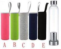 Garrafa de água de vidro 22z BPA livre resistente a alta temperatura esporte garrafa de água com filtro de chá frasco de infusor manga de nylon ewee7749
