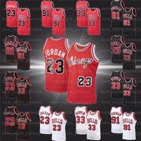 NCAA MJ 23 Michael Retro Jersey Dennis 91 Rodman Scottie 33 Pippen Stripes شيكاغوثوركلية 1995 1996 جيرسي كرة السلة