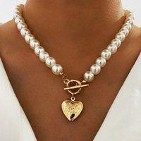 2021 New Vintage Wedding Pearl Choker Necklace for Women Geometric Heart Pendant Necklaces Jewelry Collier De Perles