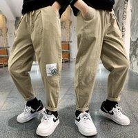 Trousers Children Fashion Solid Color Cargo Pants Kids Spring Autumn Slacks Teen Boy Korean Trend Mid-rise 6 7 8 9 10 11 12 13 Y