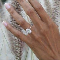 925 Plateado de la boda de plata de la boda Luxury Oval Cut 3ct Simuled Diamond Anillos Para Mujeres Compromiso Joyería Anel
