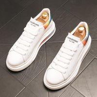 Högkvalitativa män plattform sneakers toppdesigner öka loafers platt häl spets-upp lite vita casual skor runda tå plus storlek 38 ~ 44