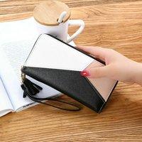 Wallets Women Ladies Zipper PU Leather Wallet Large Patchwork Wristband Handbag Card Phone Organizer Money Coin Storage Long Cluth Bag