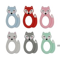 Fox Baby Teether Silicone Teething Toy Animal Soothers Baby Molar Training Silicone Beads BPA Free Sensory Baby Chew Teethers HWF10637