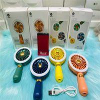 Elétrico LED Luz Fãs Mini USB Gadgets Recarregável Ventilador Pneus Handheld Portátil Dobrável Dobrável Desktop Mão Refrigeração para Viagem de Verão