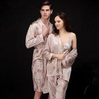 Pareja pijamas conjuntos para hombres mujeres verano camisón camisón de seda ropa de dormir ropa de dormir vintage ropa amante albornoz hogar ropa de casa