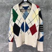 남성용 스웨터 2021 패션 브랜드 남성 여성 슬림 카디건 의류 두꺼운 아가일 화이트 V-Ncek 양모 가을 겨울 캐주얼 코트