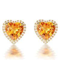 3 carati citrino pietre preziose giallo orecchini di cristallo per donna femme zircone diamante 18 carati color oro gioielli di lusso regalo cuore 210619
