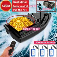 Cruise control Fishing Bait Boat 500m RC Distance With 12000Mah Battery Carry Bag RC Bait Boat Pull the net Big Hopper 2KG Load 210323