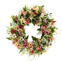 Decorative Flowers & Wreaths 18'' Wild Chrysanthemum Flower Wreath Artificial Leaf Floral Spring Garland For Front Door Wall Home Decoration