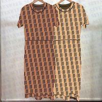 Полные буквы Печать Тонкие платья для Женщин Дизайнер с коротким рукавом вязаные юбки Мода Дамы Повседневная длинное платье