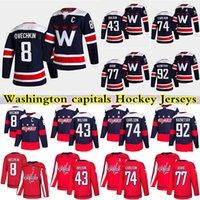 Em estoque Washington Capitais Hóquei Jerseys 8 Alexander Ovechkin 74 John Carlson 77 T. J. Oshie 43 Tom Wilson 92 Evgeny Kuznetsov