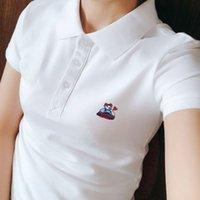 Camiseta líder femenino algodón solapa polo verano oso de verano manga corta collar de mujer de manga media superior marea blanca