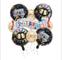 Happy Birthday Banner Balloon Set Party Backdrop Decor Gold Confetti Latex Foil Helium Aluminum Cartoon Balloons Kit With Ribbon