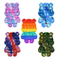 Fidget Toy Push Bubble Sensory Toys for Autistic Children Silicon Rainbow Bear Fidgets Stress Autism Games Adults with AD, ADHD, Anxiety Relief Items