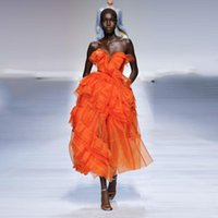 Casual Dresses High End Orange Ruffles Draped Tulle Mid Calf Women Christmas Party 2021 Sweetheart Lace Up A-line Prom Gowns