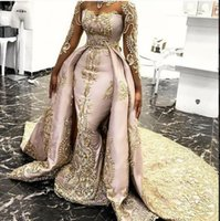 2020 Overskirts Mermaid Evening Dresses Sheer Neck Long Sleeves Yousef aljasmi Lace Appliqued Prom Gowns Detachable Formal Party