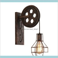 Other Retro Vintage Shade Ceiling Lifting Pulley Industrial Lamp Fixture Iron Loft Cafe Bar Adjustable Sconce 1020 D9Lej