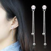 Dangle & Chandelier Korean Elegant Women Long Earring Cz Pearl Charm Pendent Snake Chain Tassel Earrings Pearls For Wedding Party Gift K45-5