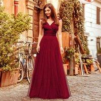 신부 들러리 드레스 2020 여름 새로운 외국 무역 인기 그물 원사 V 넥 레드 슬링 자매 그룹 신부 들러리 드레스 길이