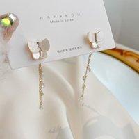 Südkorea Süße Wiederherstellung alter Wege Lange Quaste Ohrringe S925 Silber Nadel Strass Schmetterling Weibliche Gestüt